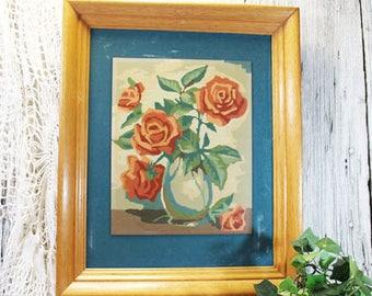 Paint by Number Roses in Oak Frame, Vintage PBN