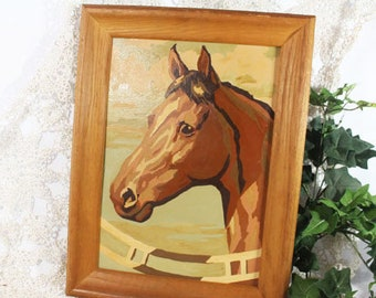 Framed Paint By Number Bay Horse, PBN, Framed Horse Painting, Vintage Painting
