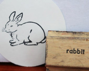 Kumayankee Original Design Rabbit Wooden Stamp Fairy Tale Bunny in Wonderland Rubber Stamp Animals Ligneous Stamp Tea Party