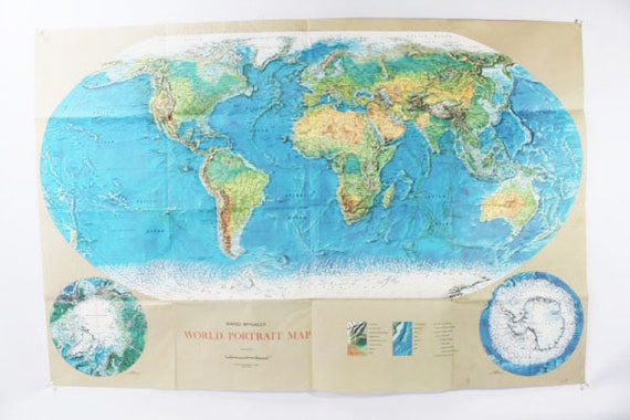 1970 World Map Rand McNally World Portrait Map Vintage D