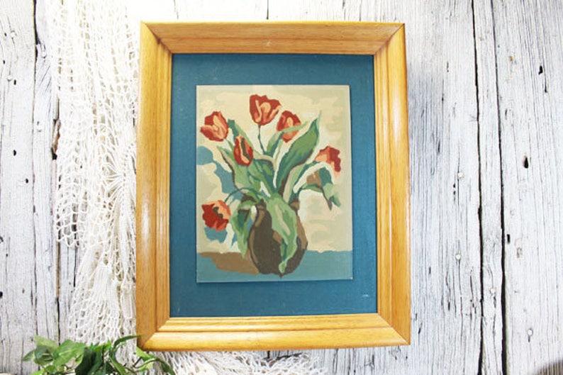Malen Nach Zahlen Rosa Rote Tulpen Im Gestell Aus Eiche Etsy