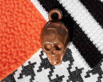 Vintage 1940s 60s Metal Skull Cracker Jack Bubble Gum Toy Prize Charm for Necklace Halloween