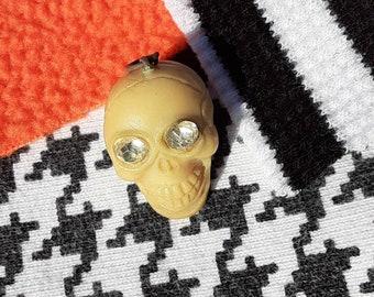 Vintage Skull Rhinestone  Eyes Cracker Jack Bubble Gum Toy Prize Charm for Necklace Halloween Japan