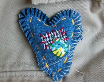 upcycled patchwork brooch Take A Piece Of My Heart wishing rock by Claudia Fill