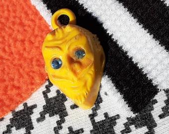 Vintage Yellow Devil Cracker Jack Bubble Gum Toy Prize Charm for Necklace Halloween