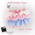 Ruffle Bum Diaper Cover PDF Sewing Pattern with Video Tutorial Baby Toddler Nappy Beginner NB 3 6 9 12 18 24 months