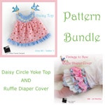 Circle Yoke Top AND Ruffle Diaper Cover  PDF Patterns NB 3 6 9 12 months, 2, 3  Summer Spring Fall Winter Baby Infant Toddler