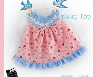 Circle Yoke Top PDF Pattern NB 3 6 9 12 months, 2, 3  Summer Spring Fall Winter Baby Infant Toddler
