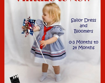 Sailor Dress with Bloomers PDF Sewing Pattern with Video Tutorial Baby Toddler Nappy 3, 6, 9 12, 18, 24 months