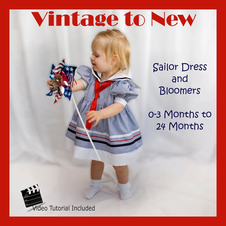 Sailor Dress with Bloomers PDF Sewing Pattern with Video image 0