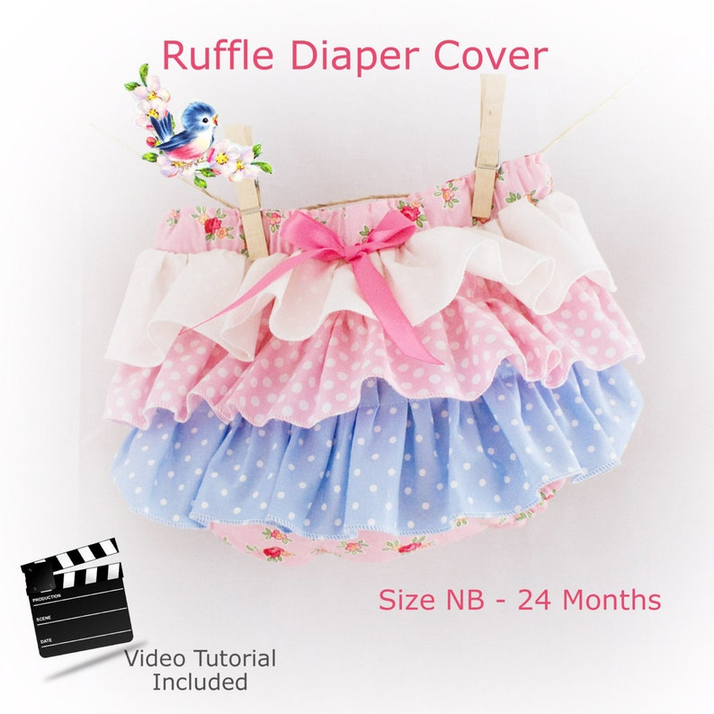 Ruffle Bum Diaper Cover PDF Sewing Pattern with Video Tutorial image 0