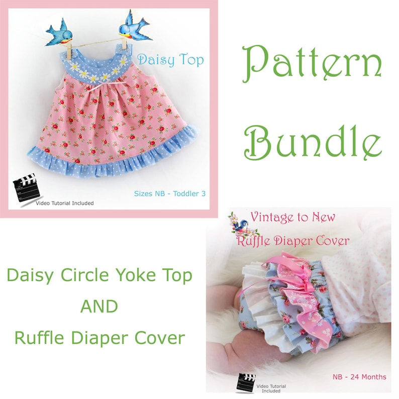 Circle Yoke Top AND Ruffle Diaper Cover  PDF Patterns NB 3 6 9 image 0