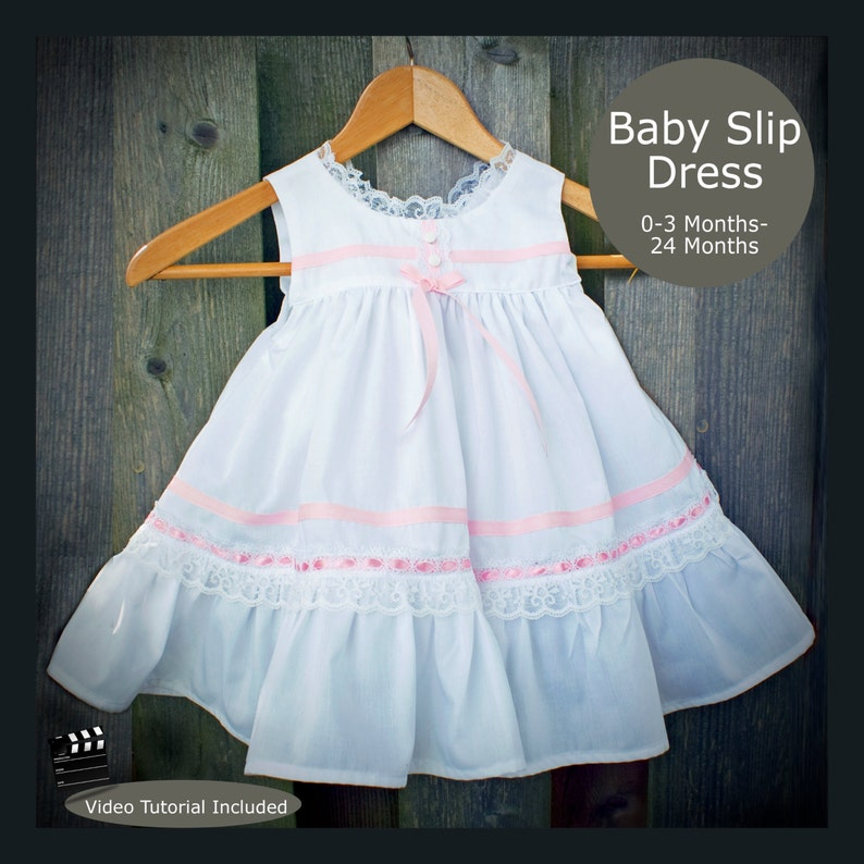 PDF Sewing Pattern Baby Slip Dress with Bloomers 0-3 Months to image 0