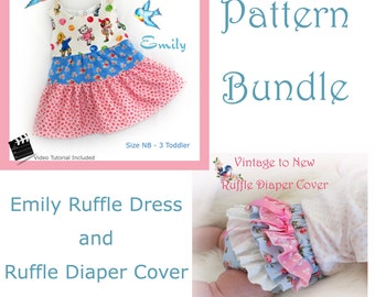 Emily Ruffle Dress AND Ruffle Diaper Cover  PDF Patterns NB 3 6 9 12 months, 2,  Dress 3  Summer Spring Fall Winter Baby Infant Toddler