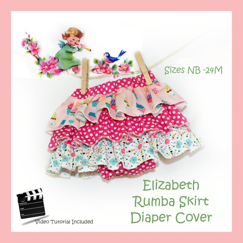 Diaper Cover Rumba Skirt Easy PDF Sewing Pattern Video image 0