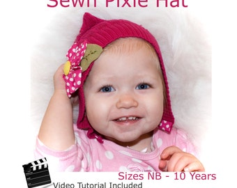 Pixie Hat Size NB to 10 years recycled sweater or fleece