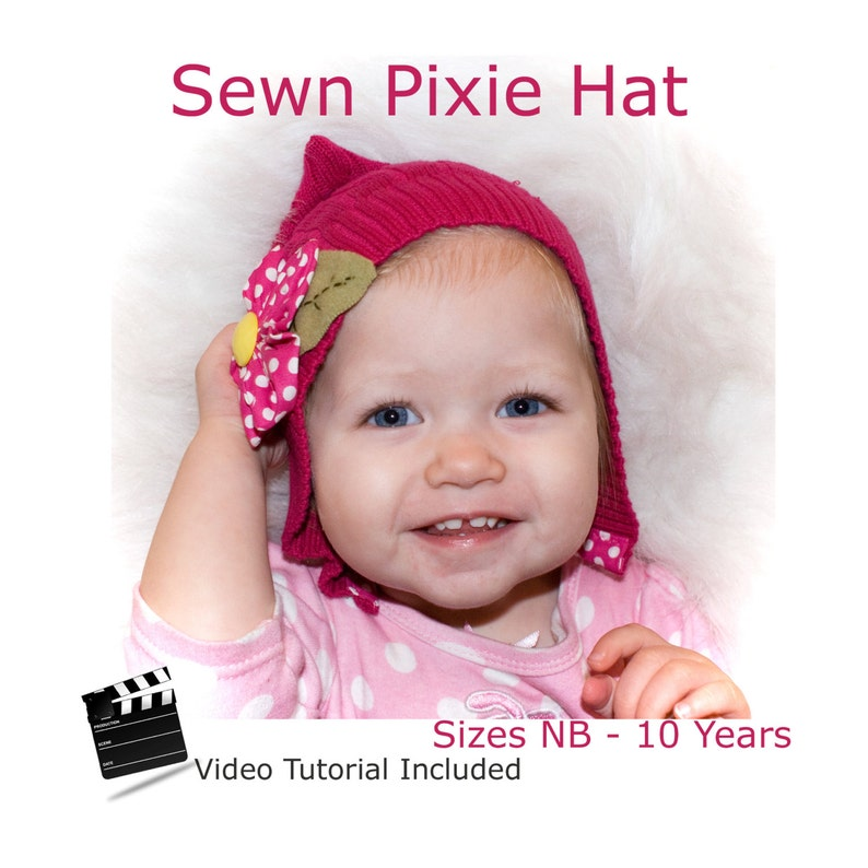 Pixie Hat Size NB to 10 years recycled sweater or fleece image 0