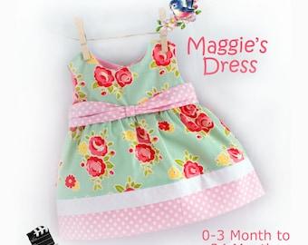 Instant Download PDF Sewing Pattern Baby Toddler Dress 0-3 m, 3, 6-9, 12, 18, 24 m  Beginner Easy Video Tutorial
