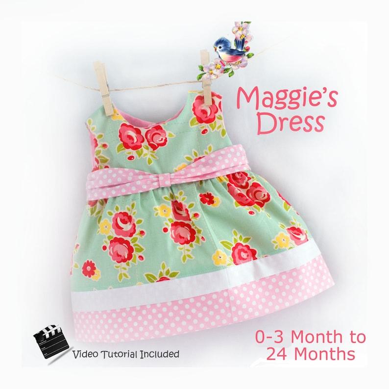 Instant Download PDF Sewing Pattern Baby Toddler Dress 0-3 m image 0
