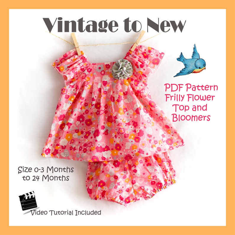 PDF Sewing Pattern Frilly Flower Top and Bloomers 0-3 Months  image 0