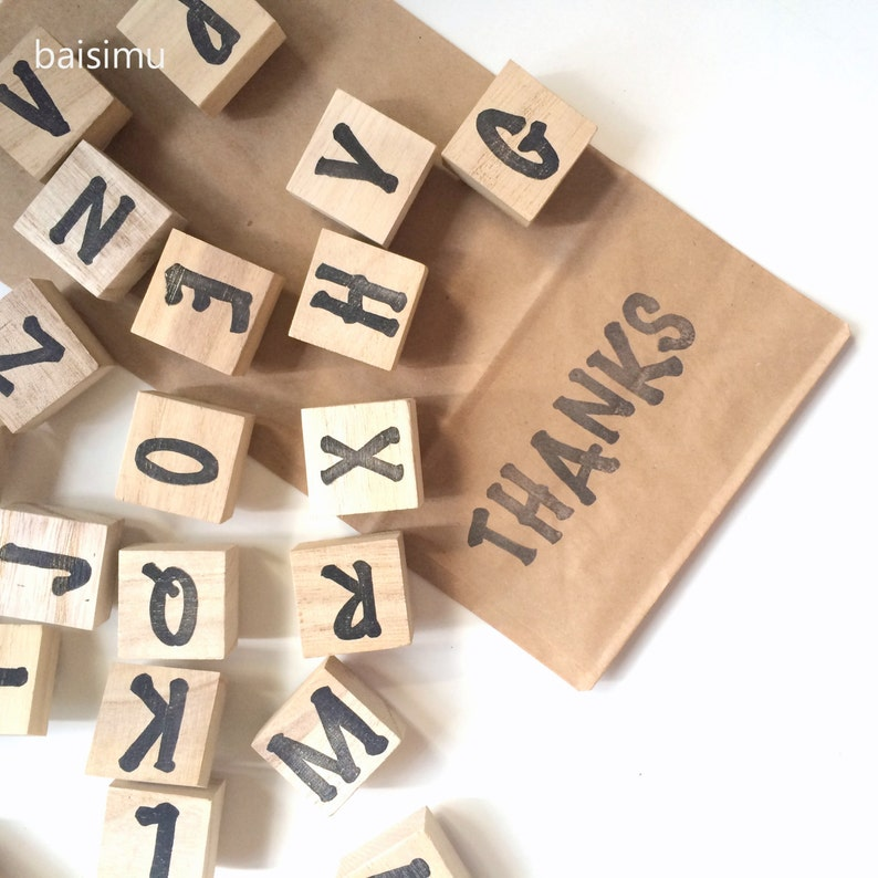 custom made hand carved stamps customized font scrapbooking stamp scrapbook stamp wood mount Large alphabet ABC stamp set