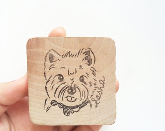 Customized pet dog puppy stamp / custom animal stamp/ custom pet stamp/ pet keepsake/ pet memorials/ pet portraits/ hand carved rubber stamp