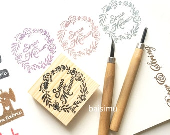 Couple name wedding stamp in floral wreath / handmade/ flowers/ wedding stamp/ wedding stationery/ wedding supplies/ love/ couple/ cute/ fun