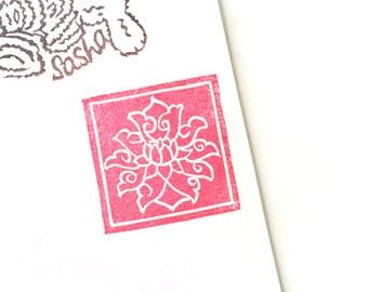 Tile of Lotus on Lantau Island, Hong Kong. Rubber stamp
