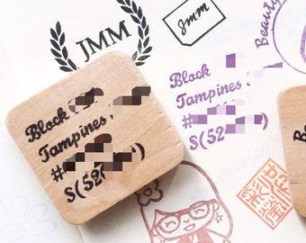 Custom made return address hand carved rubber stamp