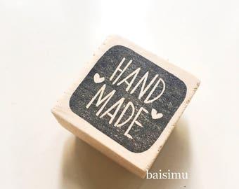 Handmade stamp for the handmade lover/ crafter/ handicraft/ craftsmen/ maker/ etsy seller/ hand carved rubber stamp/ wood/ cute/ customized