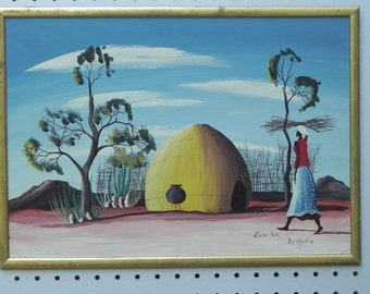 Zulu Hut Original Painting on Board by I.S. Matthe