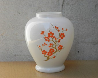 Italian White Round Vase with Orange Flowers