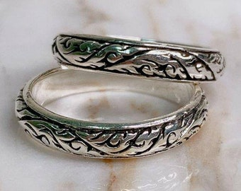Silver Carving Ring, Ancient Thai Pattern Style : 925 Sterling