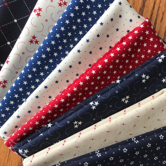 Bundle Of Fifteen Stars and Stripes Gatherings Fabric Quilt Shop Quality Moda