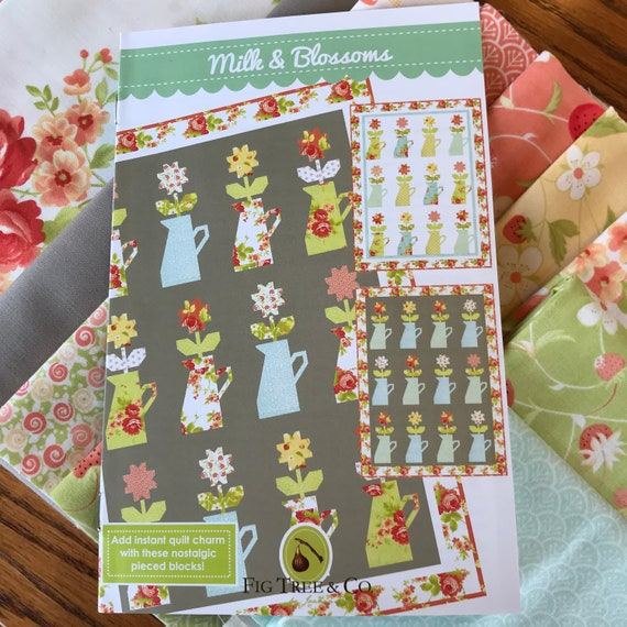 Mille Idee Con Il Patchwork.Milk Blooms Quilt Kit With Chantilly Fabric By Fig Tree Grey Background