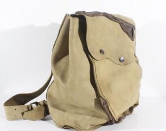 33c1fd6eb87c Unisex Vintage HANDMADE Brown Thick 100% Real Leather Bag Rucksack Backpack  USED