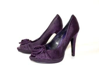 44b1854f11d Women s Vintage DIVE   CO. Platform Stiletto High Heel Peep Toe Purple  Satin Shoes Size UK3 EUR36
