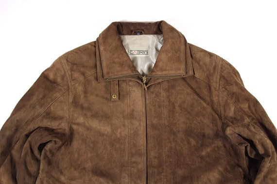 UK16 Women's Vintage CABRINI Brown Size Leather Real Parka Jacket Coat Hip Zip 100 Length Slouch zZzq6