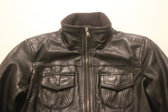 Biker Black Flying Jacket Bomber Leather Size Real 100 Vintage M BERSHKA Ladies 0dqTqz