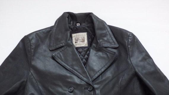 Coat ARIZONA Real Vintage Leather Black Pea Fitted Hip Length Women's Size UK16 100 Jacket U54nWqqTS