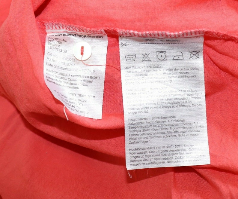 Women/'s Vintage REGATA Long Roll Sleeve Coral Orange 100/% Cotton Blouse Shirt Tunic Top Size UK20