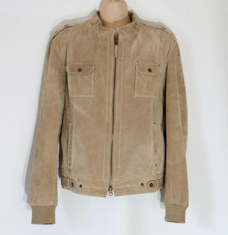 Men/'s Vintage CONBIPEL Bomber Beige 100/% Genuine Leather Jacket Coat  Size 56  XL  Pit To Pit  25 in