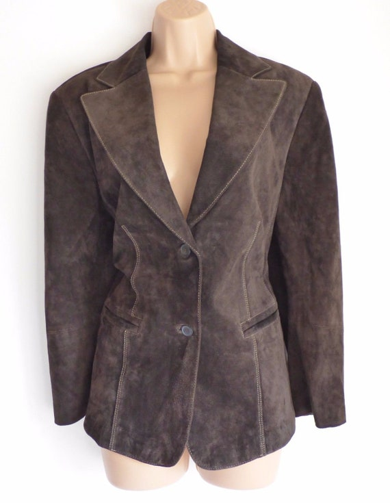 UK16 Riding Brown Leather Size Blazer Fitted Women's Length UK18 Biker Hip Vintage TAIFUN Real Jacket Coat PETITE 6xFXB60
