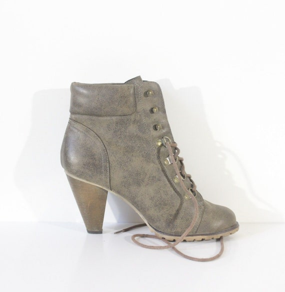 94112a6072a4f Women's Vintage NEW LOOK Brown Faux Leather Lace Up Heeled Ankle Boots Size  UK5 EUR38