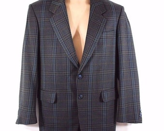 Vintage Black Check Wool Mix
