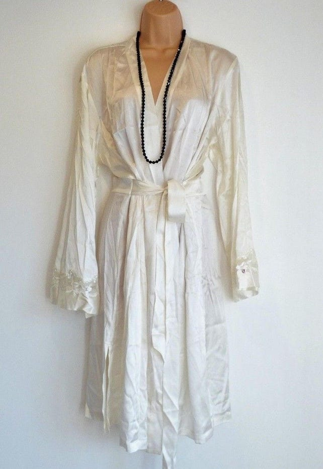 Womens Vintage Boux Avenue Stretch Midi Ivory 100 Silk Etsy