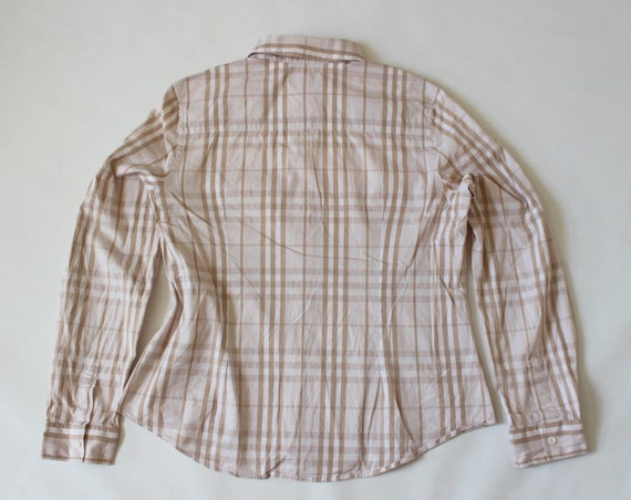 Vintage UK14 Stretch Fitted Shirt Women's UK16 XL BURBERRY Beige Sleeve LONDON Long Cotton Size Sn77wdqY