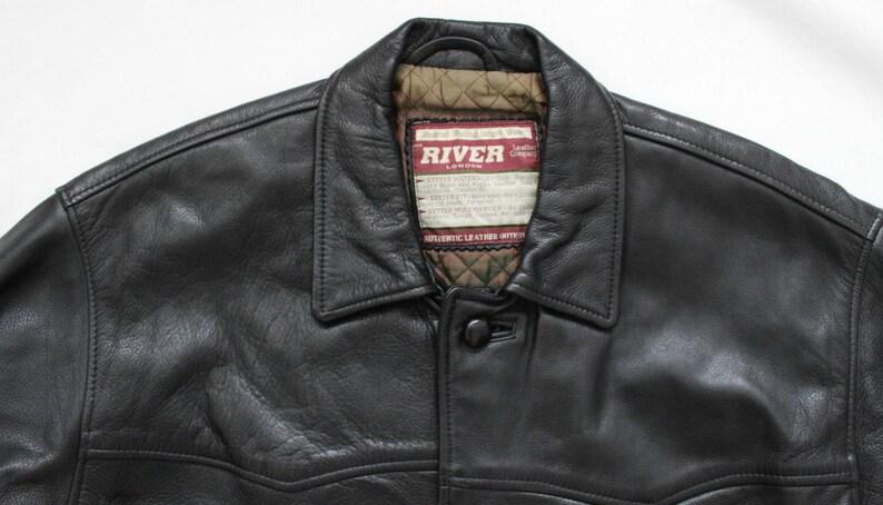69cm Men/'s Vintage RIVER LONDON Black Thick 100/% Genuine Leather Coat Jacket Size  XL   Pit To Pit 27in