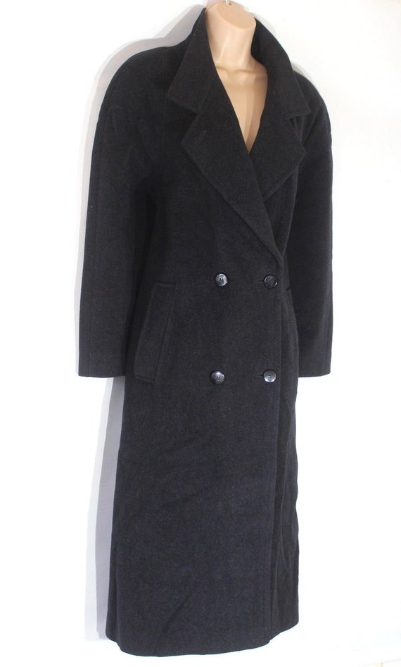UK16 Tweed Grey Women's Over Charcoal Coat Calf Length Wool Size Business Vintage xwXrYXqP