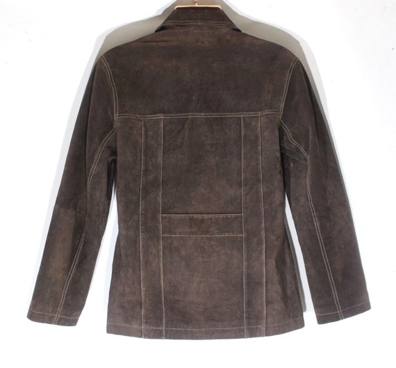Coat Length Men's M Real Brown Leather BAMBOO 100 Hip Vintage Suede Size Jacket Fitted qnxZPRF